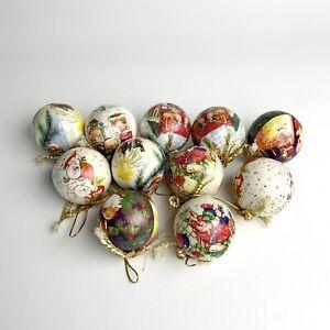 Vintage 11 Decoupage Christmas Paper Mache Ornaments Balls Mcm Kitschy Animals