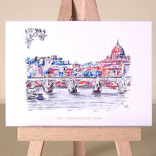 Rome ACEO art card Italian cityscape drawing ~ dancing light on St. Peter's