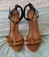COUNTRY ROAD Brown Tan Black T Bar Stiletto Heels All Leather Shoes Size 36 B7
