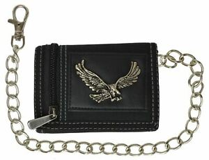 Men's Tri-fold Wallet With Chain Motorcycle Trucker Biker Eagle Classic