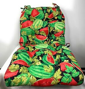 2 Watermelon Seat Cushions With Ties Vintage Made in USA 15 x 16 inches