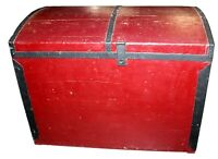 Vintage Handmade Cedar Red Storage Trunk