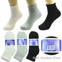 3-12 Pairs Mens Diabetic Ankle Quarter Circulatory Health Socks Cotton Size 9-15