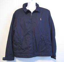 Polo Ralph Lauren Navy Blue Tan Logo Zip Up Basic Winter Fall Jacket Coat L