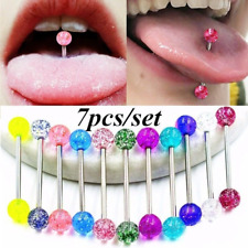 7Pcs Colorful Stainless Steel Bar Tongue Rings Tounge Bars Body Piercing Jewelry
