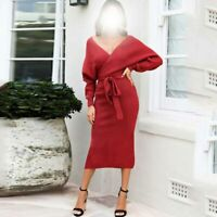 Casual V Neck Dress Dresses Maxi Womens Party Ladies Loose Knitted Long