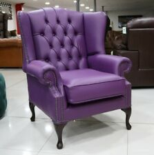 BLOOMSBURY CHESTERFIELD QUEEN ANNE HIGH BACK WING CHAIR PURPLE LEATHER