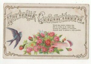 Hartelijk Gefeliciteerd Dutch Embossed Vintage Greetings Postcard 290c
