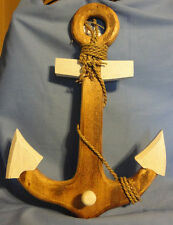 """16"""" Crackle Paint Wooden Anchor With Rope And Hook"""