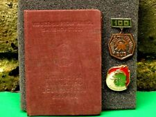 USSR Soviet 2 Pin Badges of Voluntary Firefighter and Certificate for one.