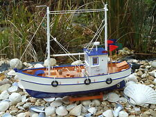 Model Fishing Boat Trawler On Stand Hand Made From Wood -maritime Ship
