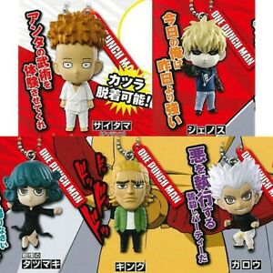 One Punch Man Complete Set 5 Figure Keyring Collection Takara Tomy Gashapon