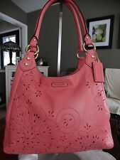 COACH ASHLEY TOSSED LEATHER LASER CUT HOBO F22485 $528.00