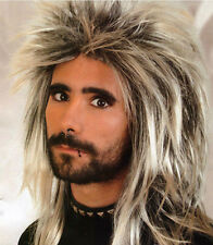 Brand New  Men's Long Blonde Spikey Punk Rock 80S Mullet Wig Costume Accessory