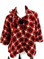 TWELVE BY TWELVE WOMENS RED WOOL BLEND SWING JACKET SIZE S