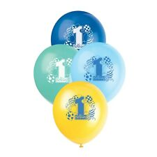 "1ST BIRTHDAY Blue Boy Party Decorations 12"" Latex Balloons x8"