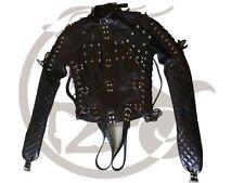 Original Black Leather Strait Jacket Bondage Chest Flaps Bespoke Quilting