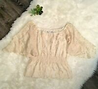 Trina Turk Silk Blend Woman Blouse Holiday Sheer Gold Ivory Sheer Size S