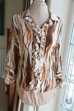 Soon Pretty Brown & Cream frilled crinkled non iron Blouse size 14 long sleeve