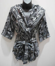 Jacket Small Black White Paisley Wrap around Waist Hood Hoodie Cap Sleeve DC428