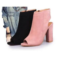 UK New Womens Casual Fish Mouth Peep Toe High Heels Ankle Boots Shoes Sandals