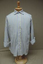Burberry London french cuff 16 34 long sleeve shirt dress striped Made in USA