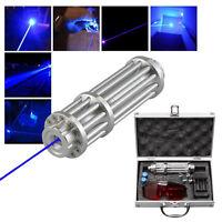 High Power 445nm Focusing Blue Beam Laser Pointer Pen Burn Match 5Pattern lights