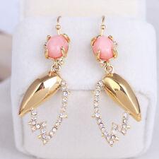 Alexis Bittar Pink Pearl Crystal Pave Petal Shape Drop Earrings