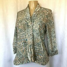 Alberto Makali Top Jacket Blazer Open Front Abstract Print Lined M 3/4 Sleeve