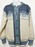 Dale of Norway Womens S Nordic Blue Cream Wool Cardigan Sweater Metal Clasps