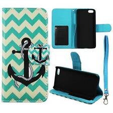 Flip Wallet Green Anchor Chevron For Apple Iphone 5C Pu Leather Cover Case