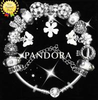 Authentic PANDORA Bracelet Silver White BUTTERLY GARDEN European Charms NIB