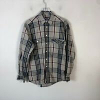 Ermenegildo Zegna Button Front Plaid Shirt Men's S Gray Long Sleeve Casual Shirt