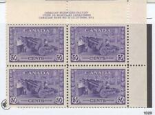 CANADA # 261 VF-MNH AMUNITIONS COMPLETE SET OF 4 PLATE BLOCKS CAT VALUE $1440.00