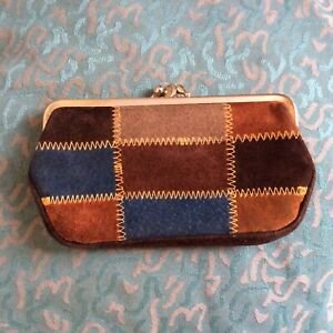 1970s c Brown patchwork patterned coin purse keychain