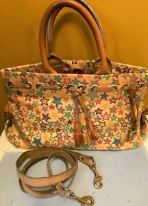 "Dooney & Bourke Stars Coated Canvas Handbag with Leather Trim Dual Strap 13""x7"""