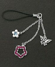 Silver Dangle Purple Crystals Flower Butterfly Cell Phone Charms Free Shipping