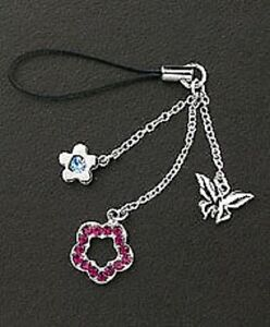 Cute Cell Phone Charm Strap Purple Crystal Flower & Silver Dangle Butterfly