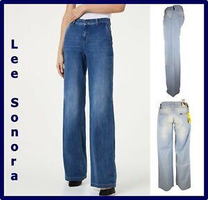 Jeans Lee da donna a palazzo vita bassa larghi pantalone gamba larga zampa 44 30