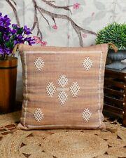 Handmade Moroccan Cactus Silk 20x20 Cushion cover with tassels, Throw pillow