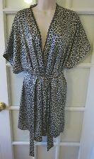 NEW CACIQUE Lingerie Robe Black White Cheetah Animal Print XS/S 2 Belts