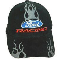FORD RACING Baseball Cap Hat NASCAR Gray Flames Fire Black Motor Race Logo Strap