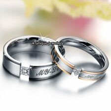 Unique Love Rings Promise Bands Silver Valentines Gifts For Her Him Wife Couples