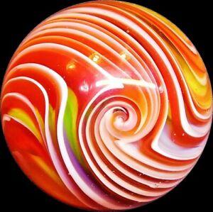 "Handmade Art Glass Mint Marble Thin Line GALAXY Swirls 1.5"" + Acrylic Stand"