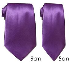 Violet Uni Cravate Satin Skinny Classique Mariage Affaires Bal UK