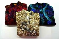 Lot of 3 Ruby Rd Women's PS Vintage Abstract Print Full Zip Thin Puffer Jackets