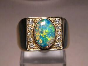 Large Mens  Diamond & Opal Ring  18 grams of 14 k Yellow Gold
