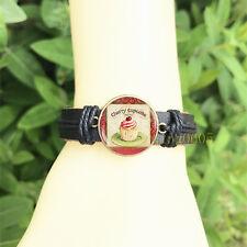 Vintage Cupcake lover men's Bangle 20 mm Glass Cabochon Leather  Charm Bracelet