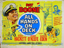 ALL HANDS ON DECK 1961 Pat Boone, Buddy Hackett, Dennis O'Keefe UK QUAD POSTER