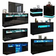 LED Lowboard TV-Schrank Hochglanz Sideboard Beistelltisch Wohnzimmer Tisch Set